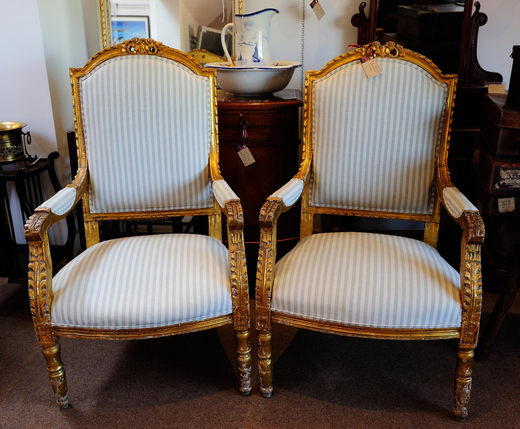 Pair French Gilt Armchairs