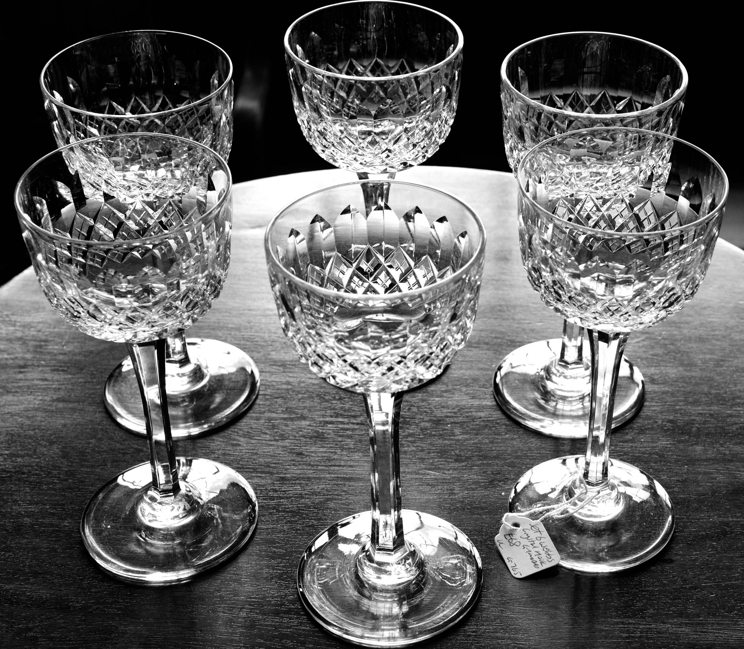Set 6 Webb Crystal Hock Glasses