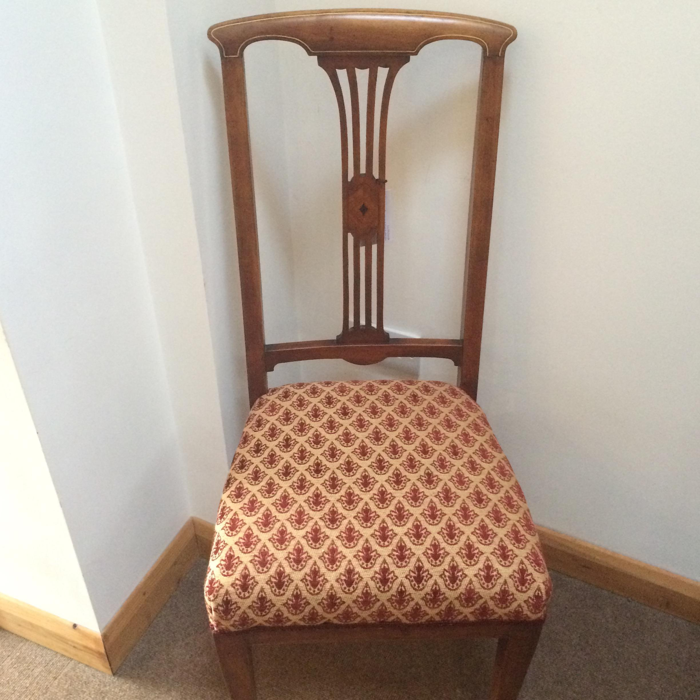 Inlaid Mahogany Hall Chair